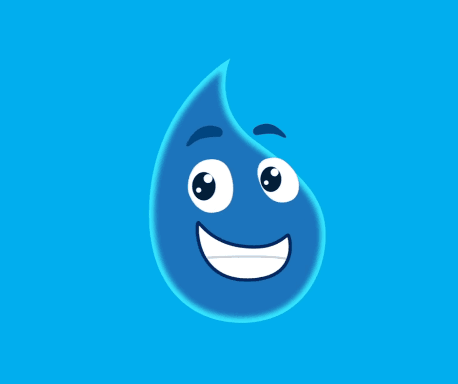 A smiling animated water drop on a blue background